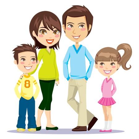 family together: Famiglia di quattro membri sorridente felicemente insieme alla ricerca di fronte alla Vettoriali