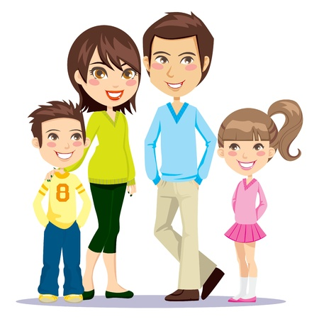 Four member family happily smiling together looking at front Vector