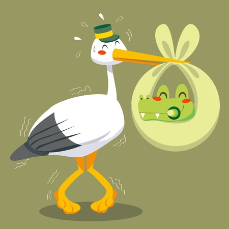 Scared stork delivering a newborn baby crocodile on a green blanket Stock Vector - 9668036