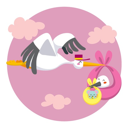 infancy: Stork flying delivering a newborn baby stork that carries a little baby mouse for delivery