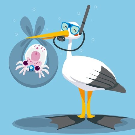 squid: Scuba diver stork delivering a newborn baby squid underwater on a blue blanket
