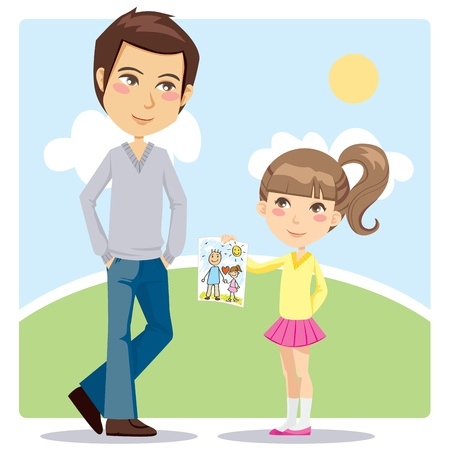 Young daughter giving a hand drawn illustration gift to her daddy on Fathers Day celebration