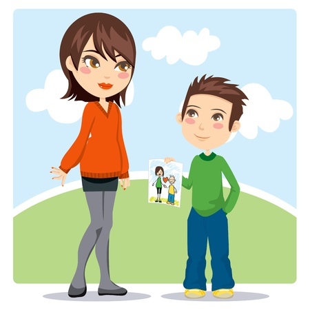 Young son giving a hand drawn illustration gift to her mommy on Mothers Day celebration Vector
