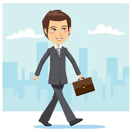 Joven y apuesto empresario activo positivamente paseando por las calles de la ciudad para asistir a una reunión de negocios con un maletín