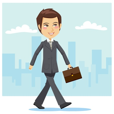 business shoes: Young and handsome active businessman positively walking through the city streets to attend a business meeting carrying a briefcase