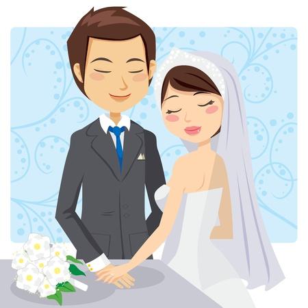 tenderly: Sposa e lo sposo tenendosi per mano teneramente dopo la cerimonia di nozze Vettoriali
