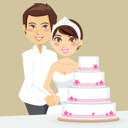 Bride and Groom happily cutting the wedding cake with a knife Vector