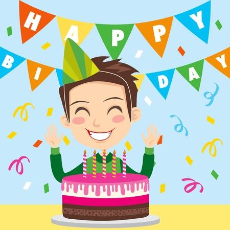 blow out: Ragazzo felice, festeggiando il suo quinto compleanno, sorridente e ridendo pronto per soffiare via le candele su una torta di cioccolato e fragola Vettoriali