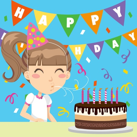 torta panna: Ragazza felice festeggiando il suo settimo compleanno che soffia fuori le candele su una torta al cioccolato e panna Vettoriali