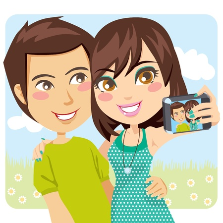snapshot: Young happy couple taking a snapshot of themselves with a digital camera Illustration