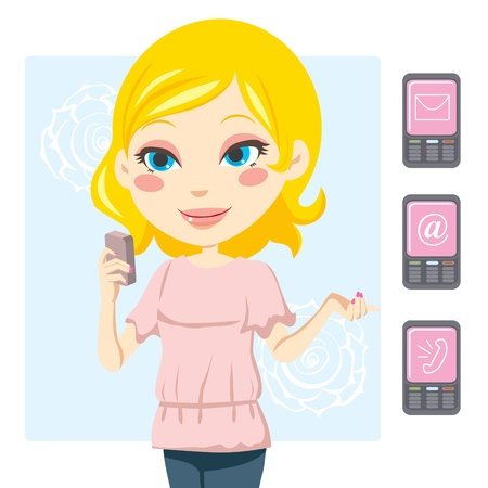 Young blonde woman smiling and sending text messages with her mobile phone Vector