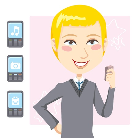 Young blond man laughing while playing games and multimedia applications on his mobile phone Vector