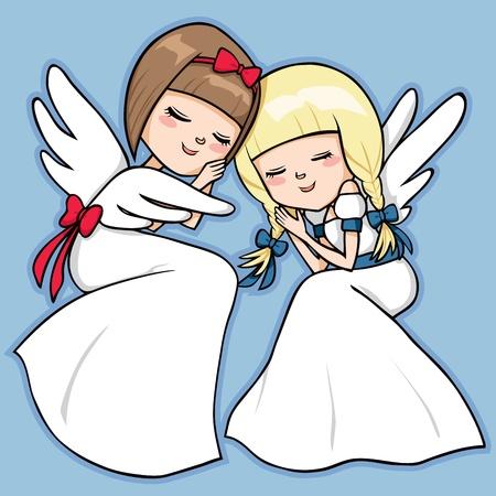 Twee zoete engelen rustig slapen met ontspannen gezicht expressie