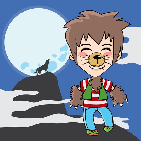 Young teen boy with werewolf costume and wolf howling to the moon on background Vector