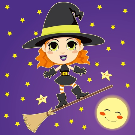 riding boot: Cute and pretty happy witch riding a magical flying broom on a full moon night
