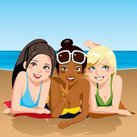 three friends: Three girl friends happy together sunbathing lying on the beach looking at front