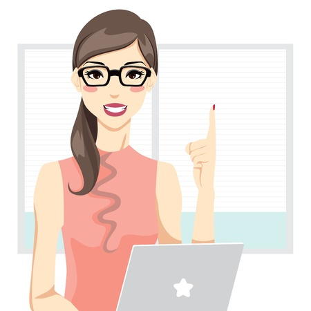 pointing finger pointing: Office woman having an idea in front of laptop and pointing up with index finger