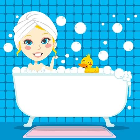 ba�o blanco: Mujer bastante rubia con un pa�o blanco en la cabeza, tomando un ba�o relajante de burbuja en la ba�era con caucho pato