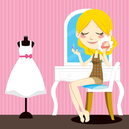 powder room: Cute blond woman in sitting front of dressing table holding a hand mirror applying facial makeup powder