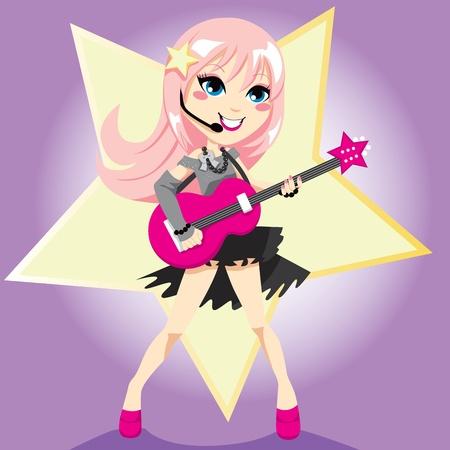 rockstar: Rock sterren meisje met roze haar elektrische gitaar spelen en zingen