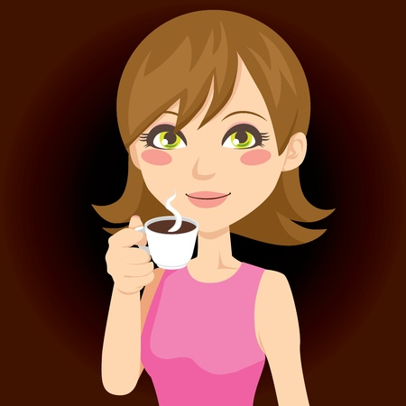 exciting: Beautiful brunette drinking a cup of hot black coffee Illustration
