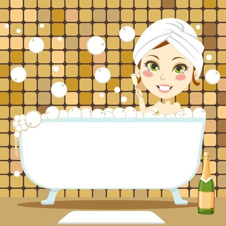 bollicine champagne: Carino donna bruna con un asciugamano bianco sulla sua testa bevendo champagne all'interno di vasca da bagno prendendo un bagno rilassante bolla Vettoriali