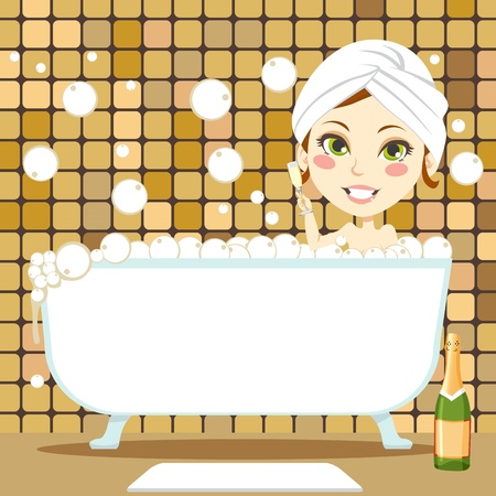 Cute brunette woman with white towel on her head drinking champagne inside bathtub taking a relaxing bubble bath Vector