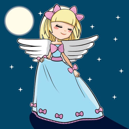 moon angels: Cute blond angel dancing under the moon light and stars Illustration
