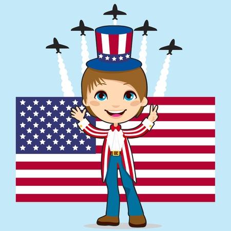 航空ショー: 星条旗の旗、ジェット戦闘機の空気の前にアメリカ合衆国の独立記念日を祝ってアンクルサム衣装の少年を表示します。  イラスト・ベクター素材