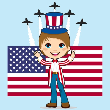 Boy with Uncle Sam costume celebrating United States of America Independence Day in front of Stars and Stripes flag and jet fighter air show
