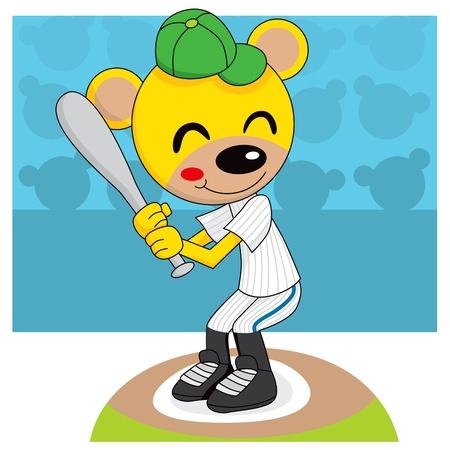 Cute teddy bear playing baseball holding a bat ready to hit the ball Vector