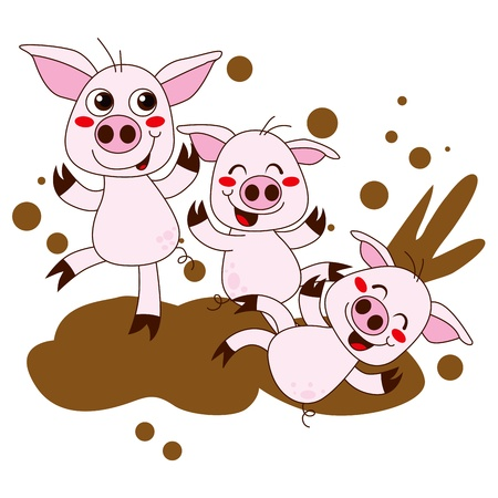 Three funny pig cartoon characters having fun playing on dirty mud Illustration