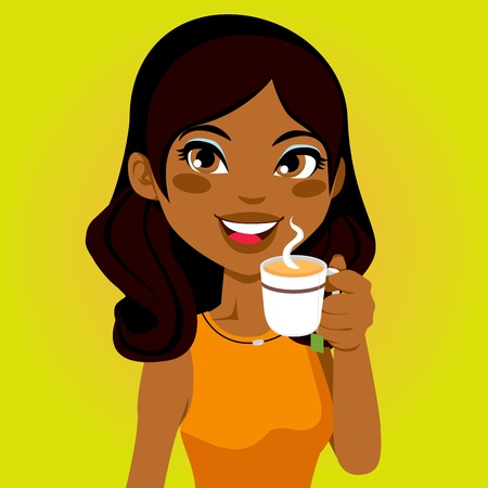 a charming: Portrait of a pretty African woman drinking a cup of herbal infusion