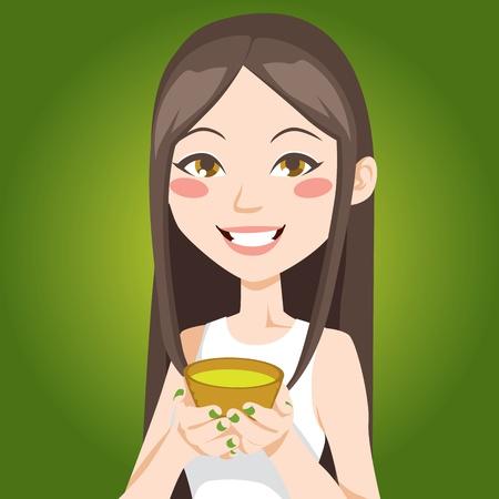 asian culture: Ritratto di una donna piuttosto asiatica, bere una tazza di t� verde Vettoriali