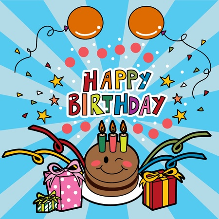 Happy birthday party cake with three candles, presents, balloons and confetti Stock Vector - 9827988