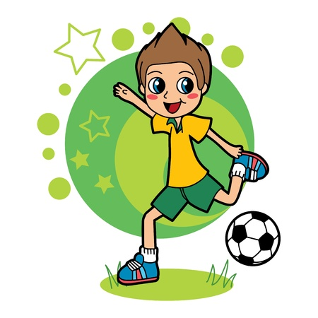 soccer grass: Little kid playing soccer and happy kicking ball