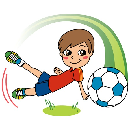Cute little boy happy playing soccer and shooting ball Vector