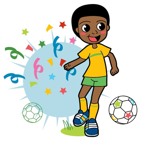 African boy playing soccer happy and celebrating victory