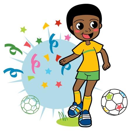 Afrikaanse jongen voetballen gelukkig en het vieren van de overwinning