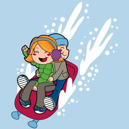 toboggan: Boy and a girl friends riding sled fast on snow