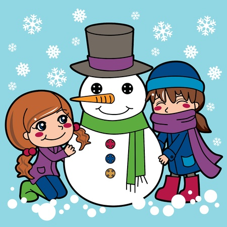 two person: Two girls having fun making a cute snowman outdoors
