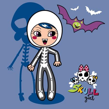 skeleton costume: Cute little girl wearing skeleton costume for halloween