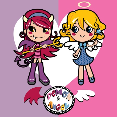 Adorable little girls wearing angel and demon costumes together Vector