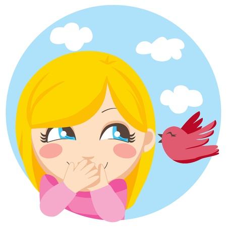Cute blonde girl surprised of the secret a little bird is whispering her Vector