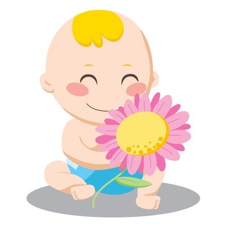 小さな男の子ピンクのデイジーの花を保持していると幸せそうに笑って  イラスト・ベクター素材