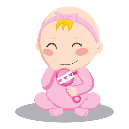 rammelaar: Weinig baby meisje en een roze rammelaar schudden en glimlachen gelukkig