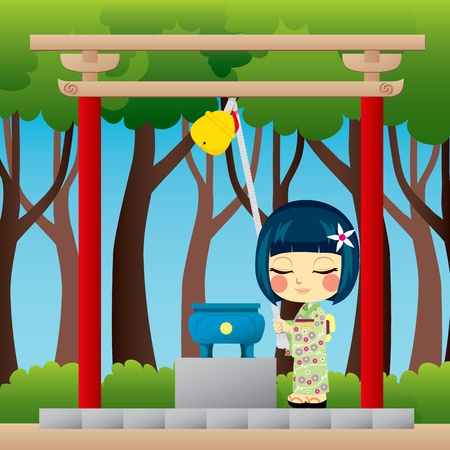 shinto: Little Japanese girl with yukata praying on a Shinto shrine ringing a Suzu bell to call the spirits