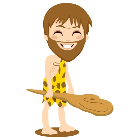 Cute happy caveman smiling and holding a wooden club with his hand isolated on white Stock Vector - 9827998