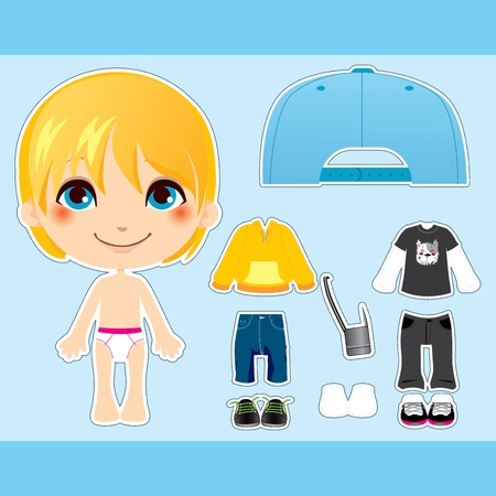 paper doll: Sweet and cute blond fashion boy clothes paper doll collection set Illustration