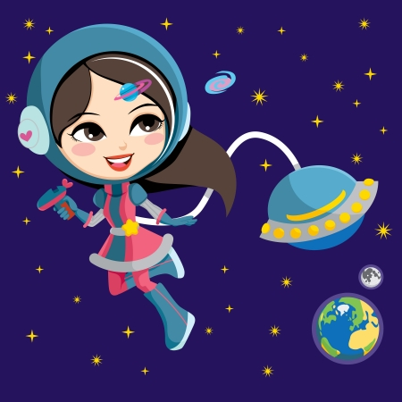 astronaut in space: Pretty astronaut fashion girl exploring space from her flying ship orbiting the earth